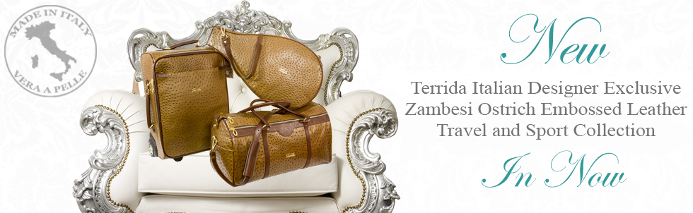 New Terrida Italian Designer Exclusive Zambesi Ostrich Embossed 