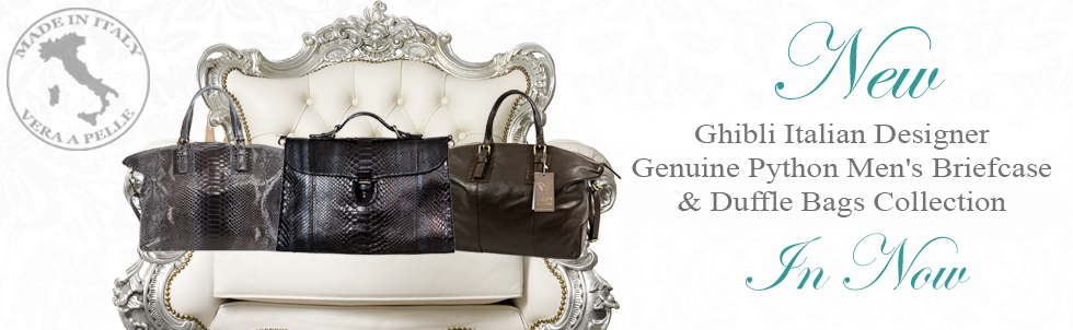 New Ghibli Italian Designer Genuine Python Leather Men's Briefcase & Duffle Bags Collection