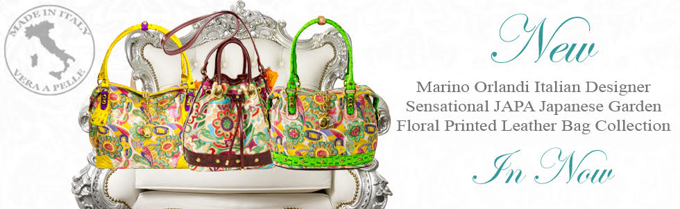 New Marino Orlandi Italian Designer Sensational JAPA Japanese Garden Floral Printed Leather Bag Collection