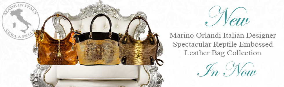 New Marino Orlandi Italian Designer Spectacular Reptile Embossed Leather Bag Collection