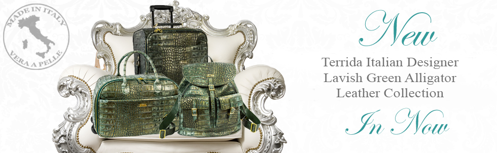 New Terrida Italian Designer Lavish Green Alligator  Leather Collection In Now