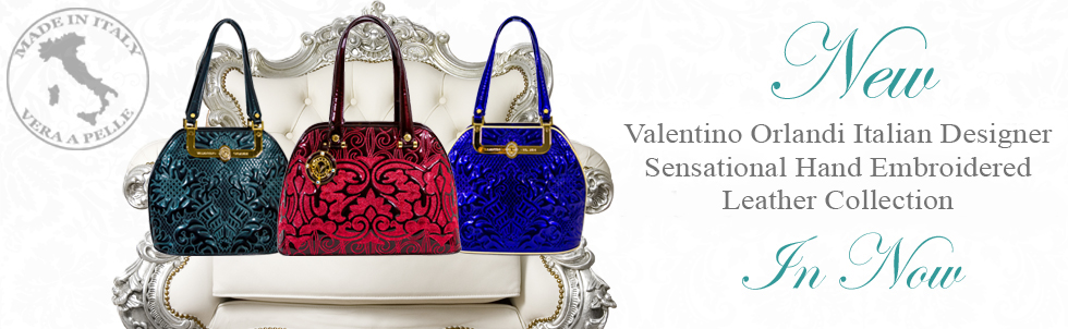 New Valentino Orlandi Italian Designer Sensational Hand Embroidered Leather Collection